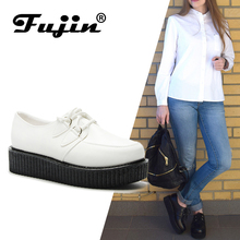 Fujin Brand leather pu autumn Creepers shoes plus size 35-41 women loafers ladies platform moccasin 2019 Women Flats Female