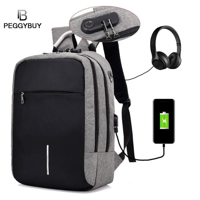 6f9fdc627ac4 Fashion Multifunctional USB charging men Laptop backpacks for teen male Mochila  Leisure Black to School Backpacks Anti Thief Bag