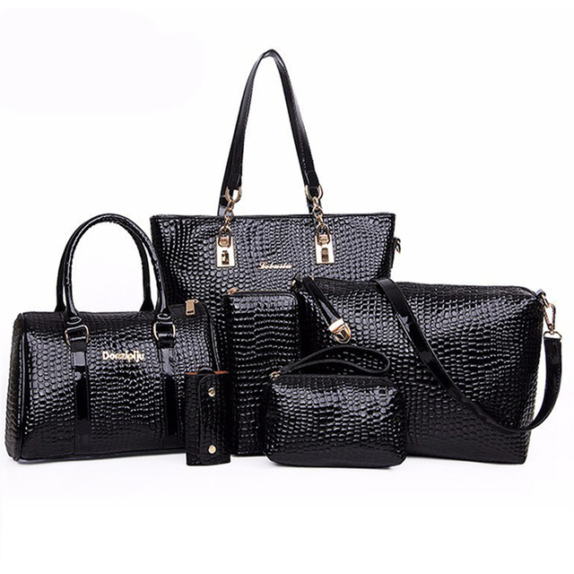 03231dcec3a0 6 Bags Crocodile Pattern Women Bag Stone Women Handbag Pu Leather Shoulder Bag  Women Messenger Bags