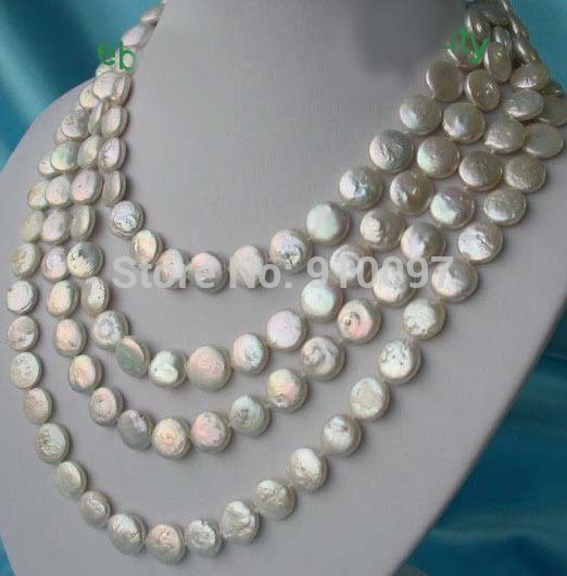 "LHX54013>>>>>Amazing long 80"" 12mm white round coin freshwater cultured pearls necklace"