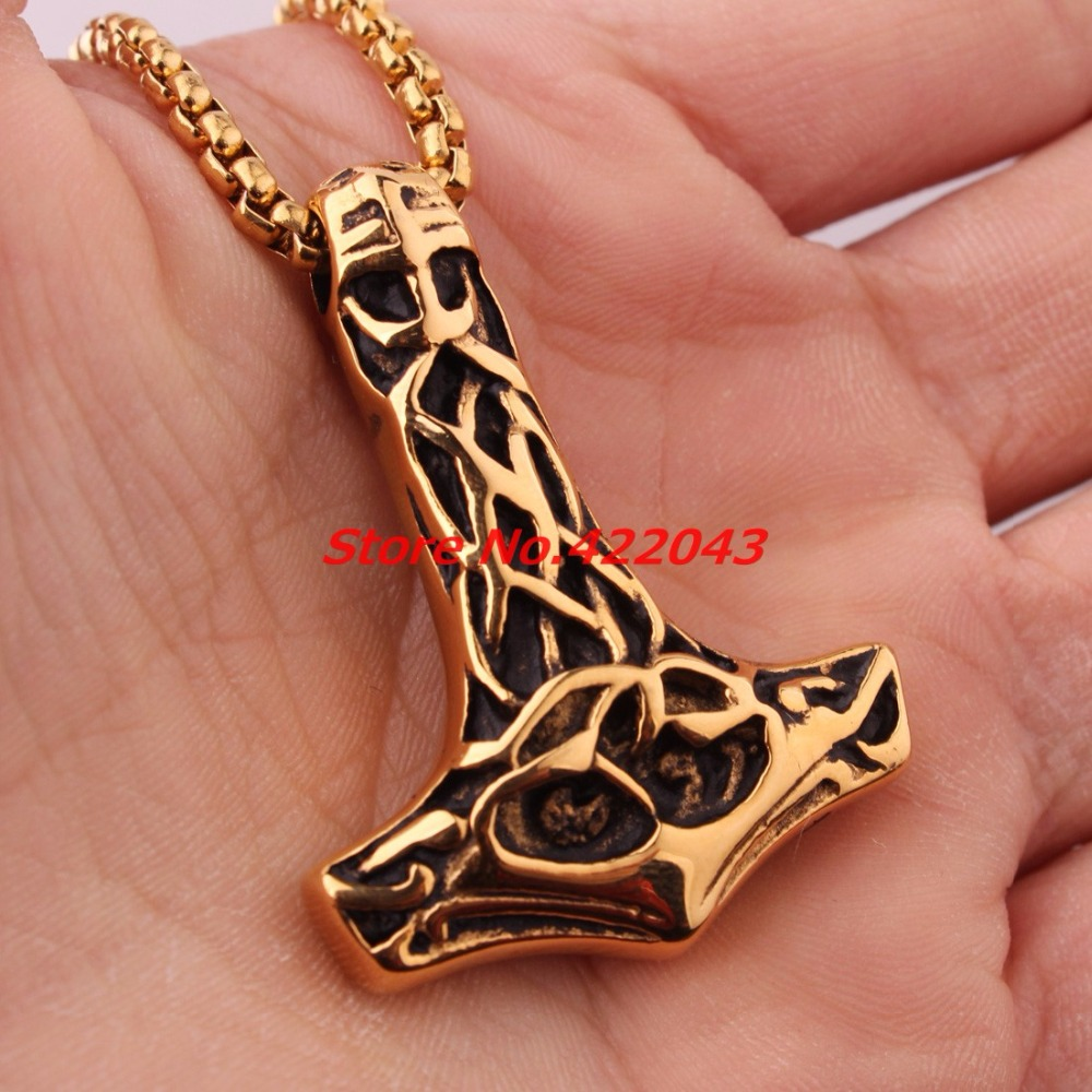 Punk Cool Necklace Viking Gold Thor's Hammer Mjolnir Pendants Stainless steel Thor Hammer Pendants Necklace for Male Best Gift