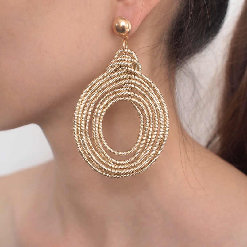 MANILAI Bohemian Alloy Spiral Statement Earrings Women Vintage Multilayer Round Metal Dangle Earrings Fashion Jewelry
