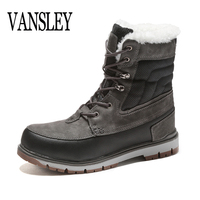 2018 Luxury Male Winter Boots Warm Plush Fur Snow Platform Boots Men Ankle Boot Casual Motorcycle Boot Waterproof Work   Shoe