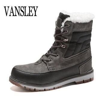 Botas de invierno para hombre de lujo 2018 botas de plataforma de nieve de piel de felpa calientes botas de tobillo para hombre Botas de motocicleta informales zapatos de trabajo a prueba de agua