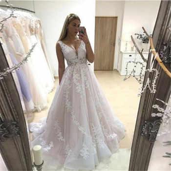 Pink Wedding Dress 2020 V Neck Bridal Gowns Backless Sleeveless Full Appliques Lace Bride Dresses Country vestidos de noiva