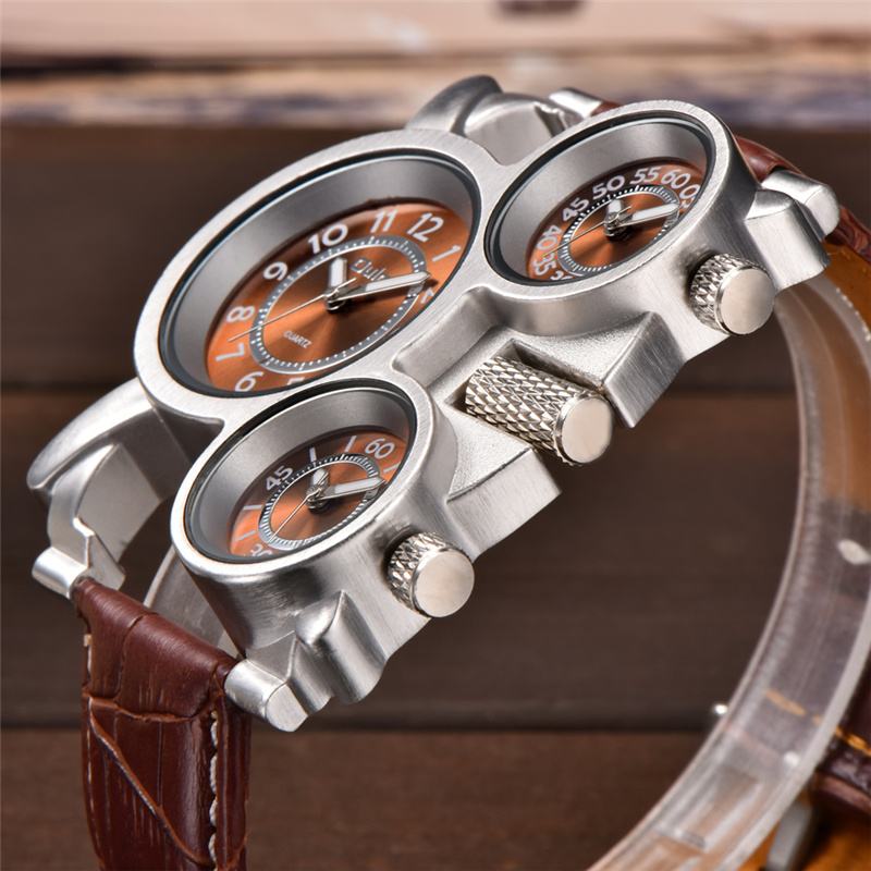 Topdudes.com - Original Oulm Sports Watches with 3 Time Zone Displays