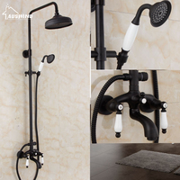 European Brass Shower Nozzle Antique Black Shower Set Retro Black Bronze Elevating Shower Head Shower Set Accessories