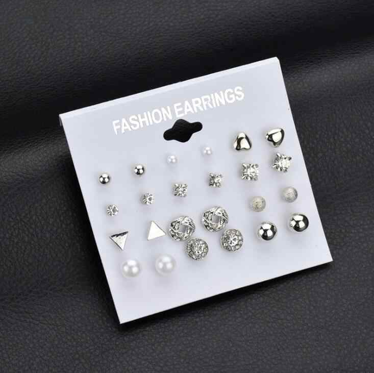 2018 New Cool Fashion 12 pair/set Women Square Crystal Heart Stud Earrings for Women Piercing Simulated Pearl Flower Earrings