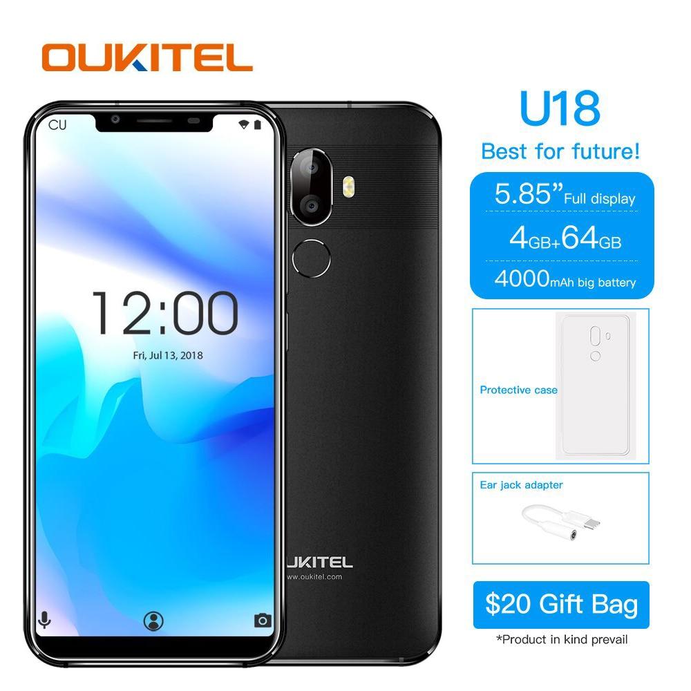Oukitel U18 Face Id 4g Lte Smartphone 5.85 Inch 21:9 Android 7.0 Octa Core 4gb Ram 64gb Rom 4000mah 16mp+13mp Mobile Phone