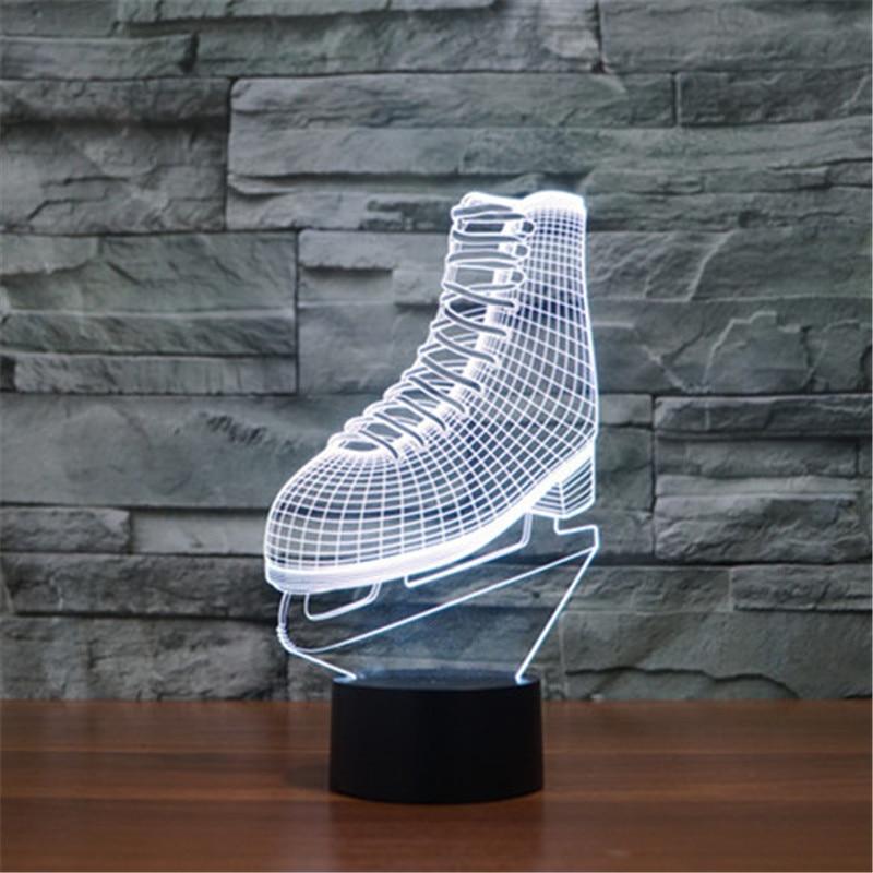 AUCD Colorful Bedroom Skates Acrylic 3D Visual Touch Table Lamp Xmas Art Decor USB Desk Night Lights Birthday Gift 3D-TD203