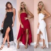 f0f615b750 Off Shoulder Strapless Slit Ruffle Strap Tube Dress Sexy Elegant Slim Nightclub  Party High Low Dress