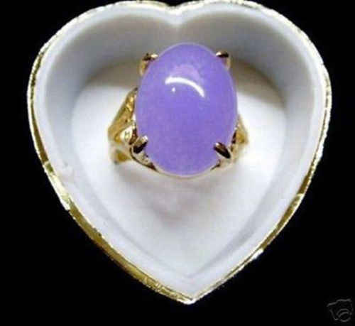 Ddh0133แท้หยกสีม่วง18พันทองชุบแหวนเกรดAAA