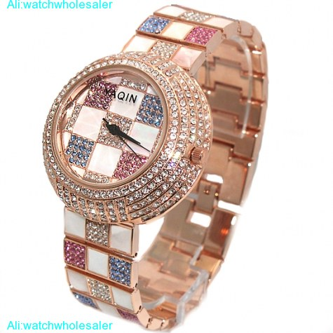 FW854A New Round White Dial Ladies Women Colorful Crystal twinkle Bracelet Watch