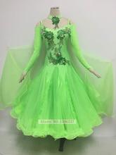 Women Ballroom Competition Dance Dresses New Sparkle Green Modern Tango Waltz Dancing Skirt Lady's Standard Ballroom Dress