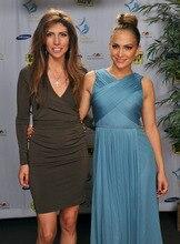 Neue Ankunft Jennifer Lopez Blau Chiffon Cocktailkleid Maribel Foundation Roter Teppich-berühmtheit Kleider Kurze Prom Kleider