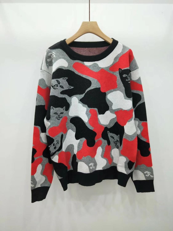 2019 jesień zima kobiety swetry leniwy kot SWEETY panie kamuflaż swetry damskie swetry z dzianiny w Pulowery od Odzież damska na  Grupa 1