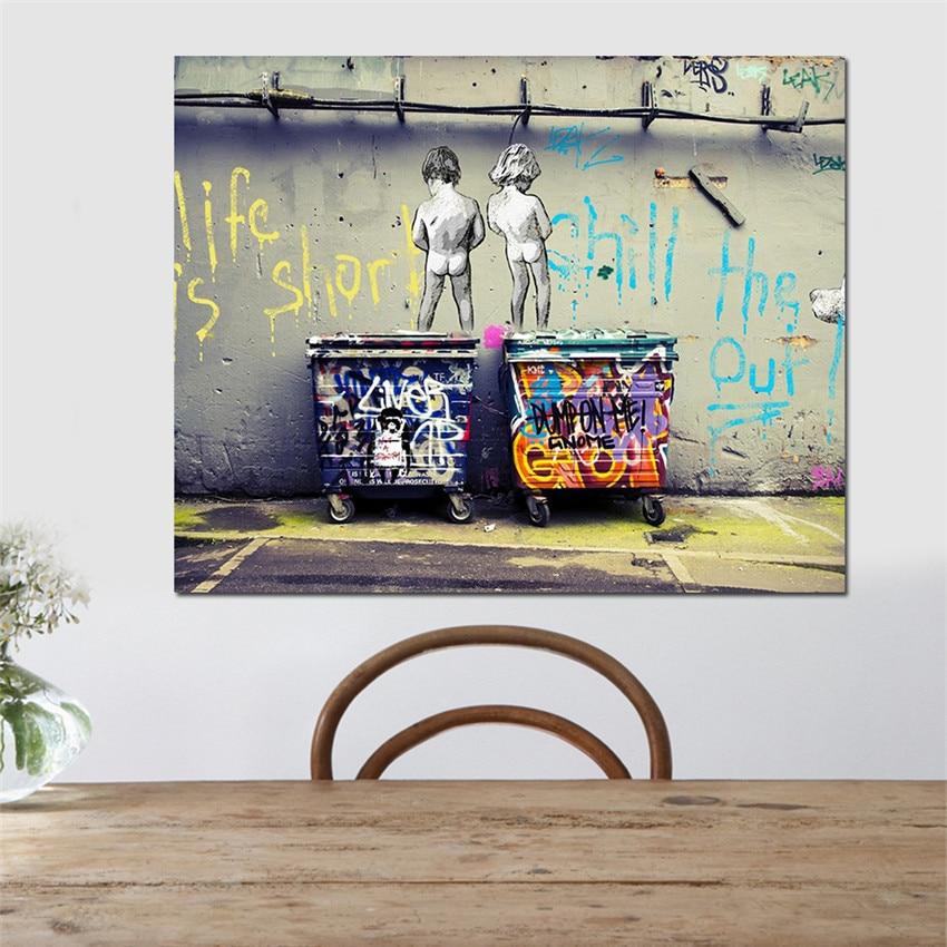 5 39 41 De Réduction Enfants Rue Graffiti Peinture Pour Salon Mur Moderne Toile Impression Mur Photos Tableau Peinture Sur Toile Décor Ou Cadeau In