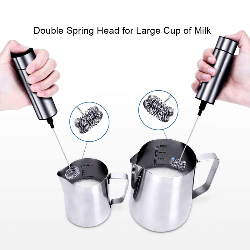 High Quality Electric Mixer Milk Frother Handheld Double Spring Whisk Head Coffee Cream Foamer Beater Blender LXY9 MY2218