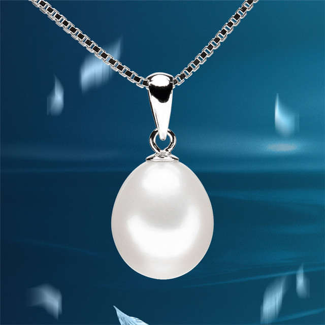 FEIGE Genuine 9-10mm Natural White Freshwater Pearls 925 Sterling Silver Pendant Necklaces For Women Pearl Fine Jewelry 0732