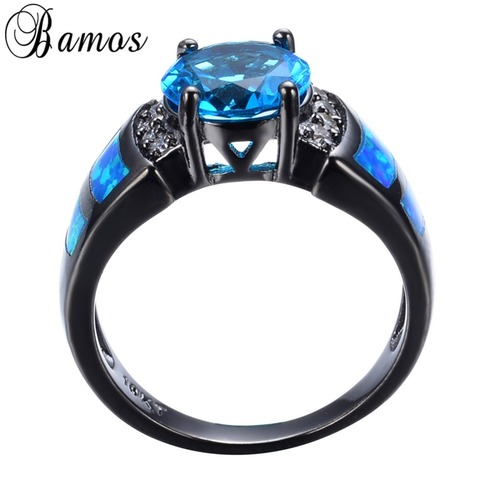 Bamos Unique Blue Fire Opal Rings For Women Men Black Gold Filled Wedding Party Light Blue Zircon Ring Best Friend Gift RB0272 Lahore
