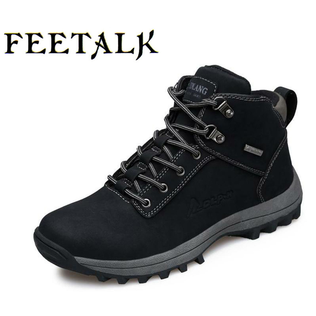 Newest Men Hiking Shoes Waterproof Canvas Outdoor Shoes Anti-skid Mountain  Climbing Fishing Boots Sneakers