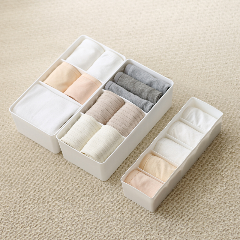 5 Grids Socks Storage Box Plastic Makeup Finishing Portable Box Separated Tanker Drawer Classification Underwear Storage Box