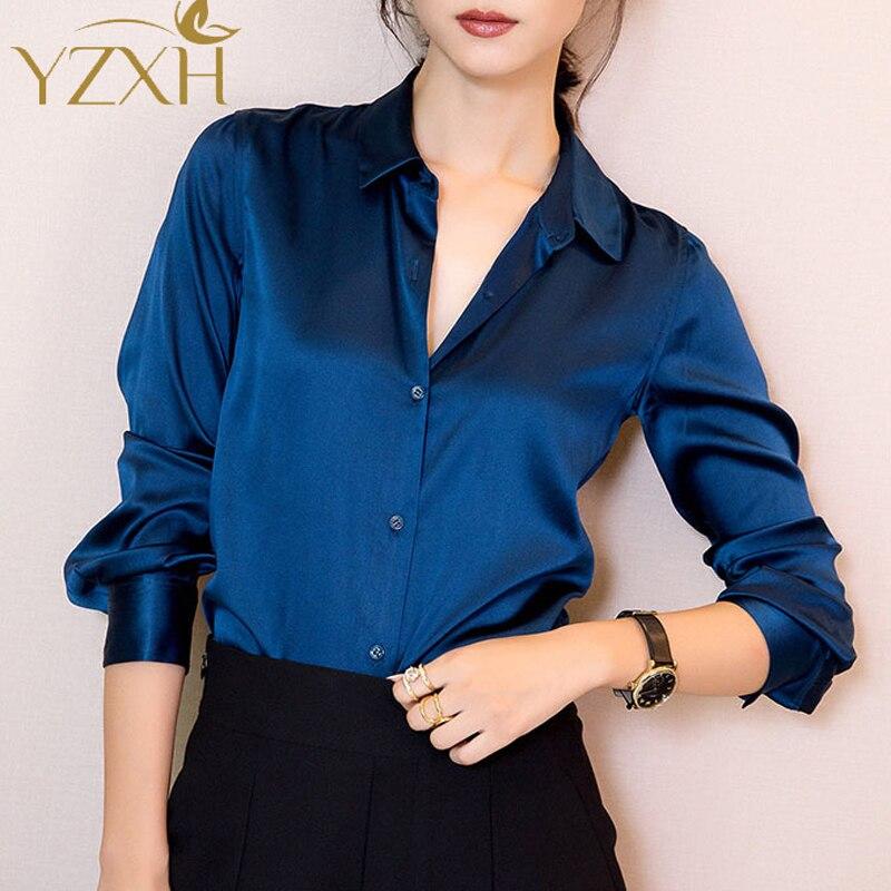 S Xxxl Fashion Women Dark Blue Satin Silk Blouse Ladies