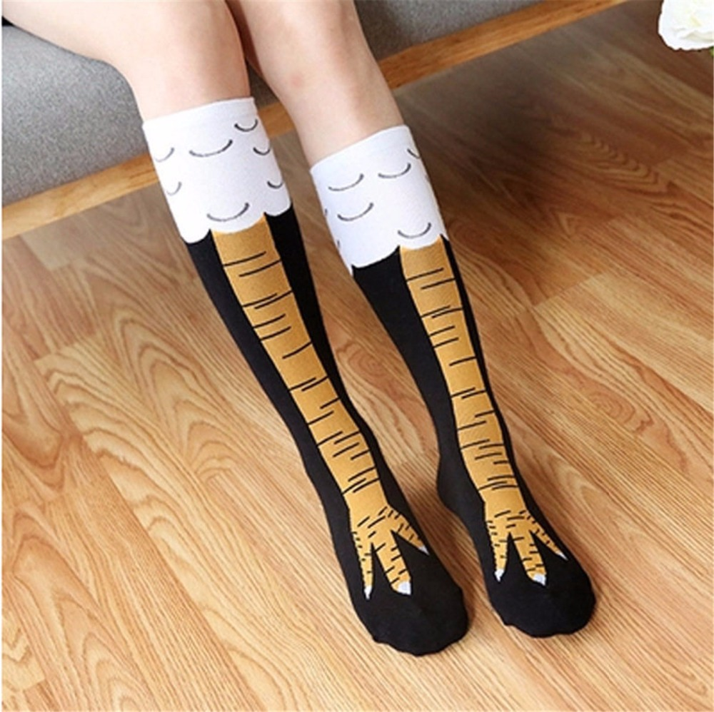 Creative Chicken Print Toe Socks Women Fashion Trendy Thigh High Sale Chicken Toe Feet Ladies Funny Unisex Socks