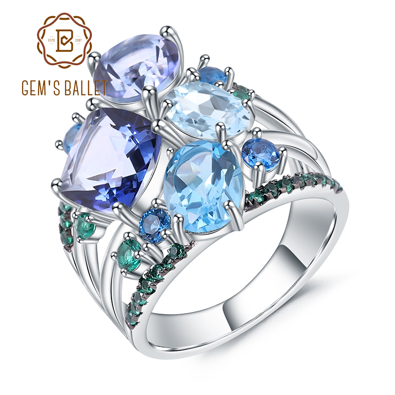 GEM'S BALLET Natural Mystic Quartz Topaz Gemstone Ring 925 Sterling Silver Geometric Statement Rings for Women Wedding Jewelry-in Rings from Jewelry & Accessories    1