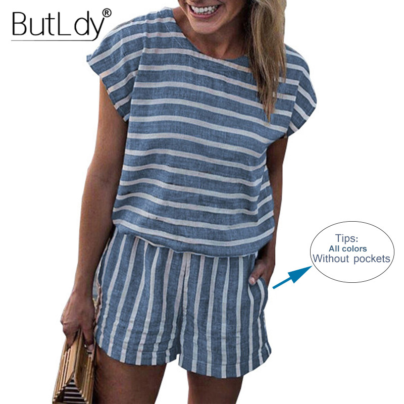 Striped Loose Playsuits Bodysuit Rompers Women Summer 2019 Casual Beach Jumpsuit Shorts Short Sleeve Elegant Overalls For Women(China)
