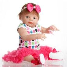 SanyDoll 22 дюймов 57 см силиконовые куклы reborn, реалистичные куклы reborn красивые Милое платье для принцессы куклы