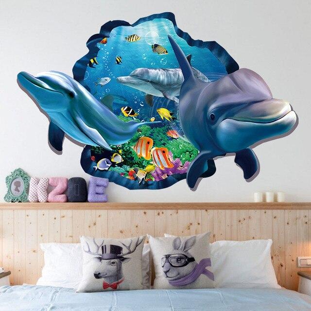 Unterwasser Fisch Dolphin 3d Lebendige Fenster Wandaufkleber DIY ...