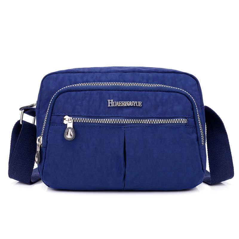 Модная Водонепроницаемая нейлоновая женская сумка на плечо, высококачественные сумки через плечо для женщин, однотонные сумки на молнии с ручкой сверху, сумки-мессенджеры