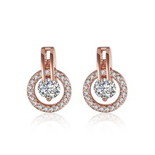 Inalis Brand Sparkling Round Stud Earring Rose Gold Plate SWA Elements Austrian Crystals Earrings Free Shipping(China)