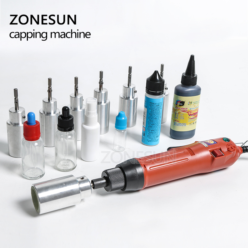 ZONESUN Optional Mix Up Capping Machine Portable Automatic Electric With Security Ring Bottle Capper Screwing Sealing Machine