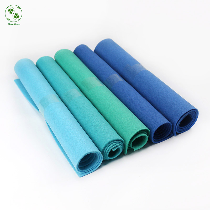 3MM Thick Felt Fabric Sheet Large Size 45X90CM Pure Solid Blue Shades Nonwoven Fabric Sheet DIY Felt Bag Arts Cloth Crafts