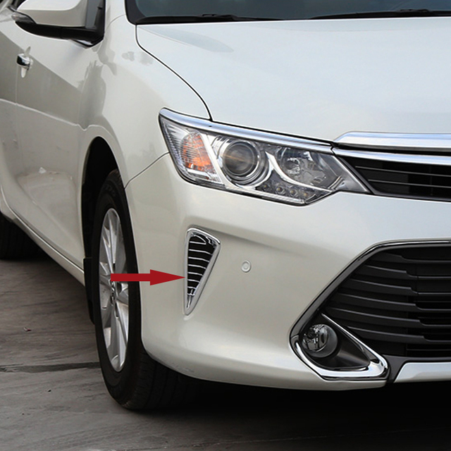 Free Shipping High Quality ABS Chrome Front Fog lamps cover Trim Fog lamp shade Trim tuyere Trim For Toyota Camry