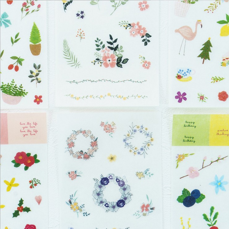 6 Sheets/pack Washi Paper Flowers Flamingo Animals Adhesive Stickers Decorative Album Diary Stick La