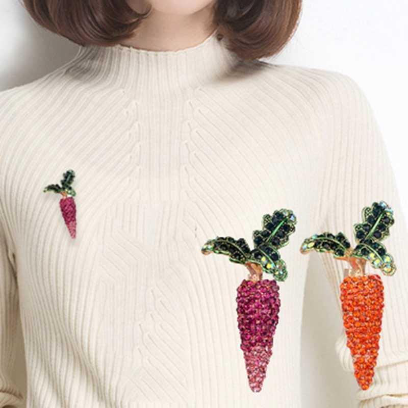 Яркие овощи брошь зеленая эмаль белый кристалл морковь редис брошь корсаж зажимы для женщин девушки платье одежда ювелирные изделия