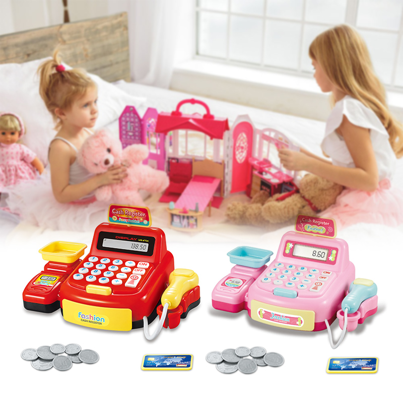 Kids Puzzle Cashier Toys With Lights Simulated Miniature POSS Machine Calculation Play Games Money Girls Toys