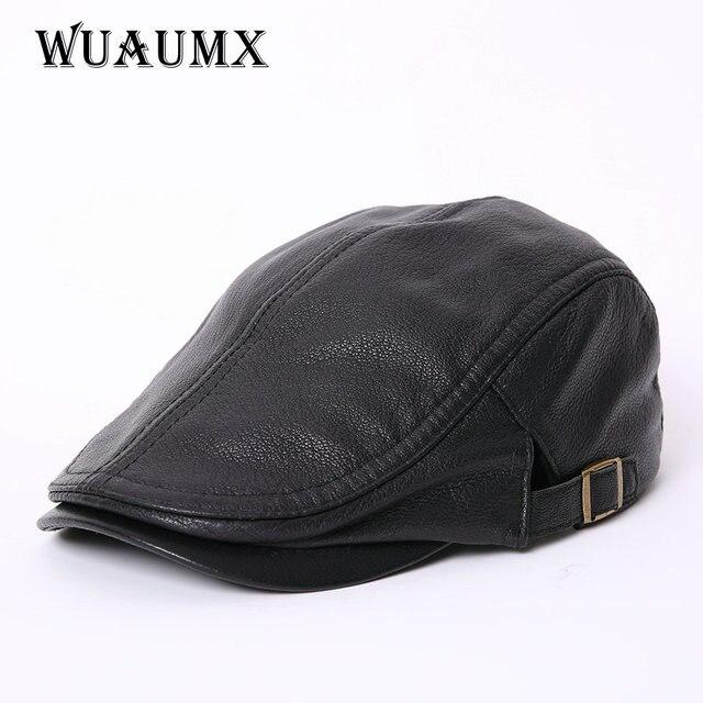 af3b30de4e15 € 29.44 |Alta calidad Cuero auténtico piel de oveja Boinas para hombres  pico sombrero de invierno para hombre cálido sombrero negro sólido sombrero  ...