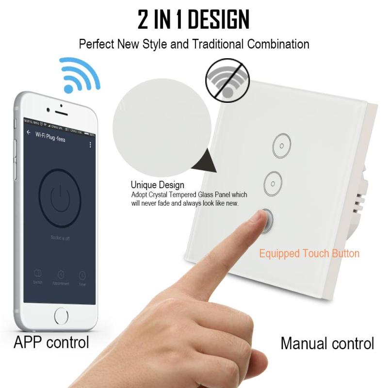 WiFi Smart Home UK EU For APP Control Touch Switch Work With Amazon Alexa Timing Function Voice Remote Control Switch Light Wall lemaic wifi smart socket t support amazon w app alexa voice control remote control timing function for ac 110 240v us plug