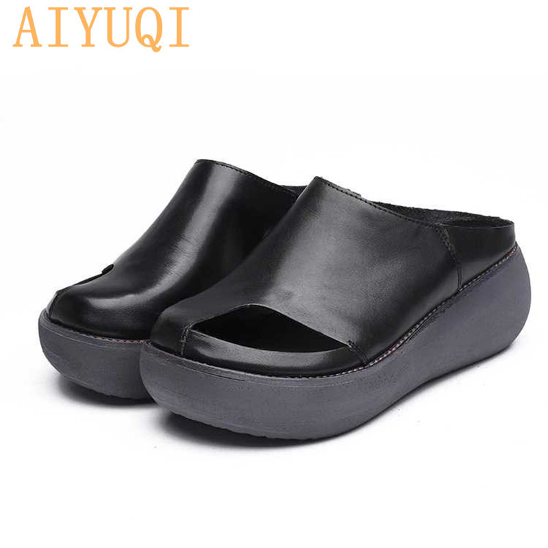 AIYUQI Womens Slippers 2019  Summer genuine Leather Retro woman flip flops,shoes casual platform womens outdoor slippersAIYUQI Womens Slippers 2019  Summer genuine Leather Retro woman flip flops,shoes casual platform womens outdoor slippers
