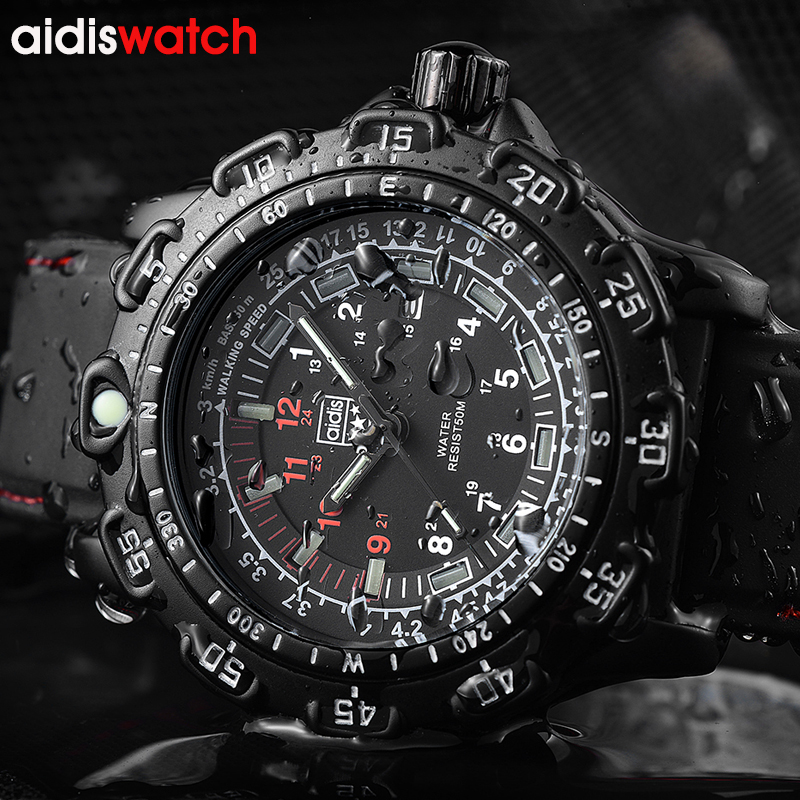 Aidis Men Military Watches Top Brand Fahsion Casual Sports Waterproof Outdoor Silicone Quartz Watch Men Male Clock Wristwatch weide new men quartz casual watch army military sports watch waterproof back light men watches alarm clock multiple time zone