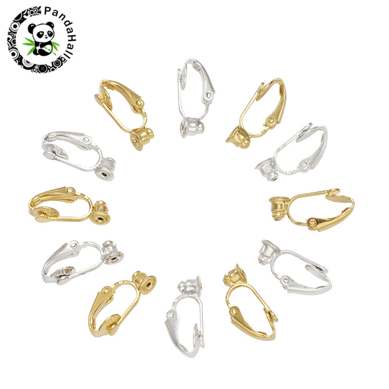 Brass Clip on Earring Converter Earring Components Nickel Free Golden Sliver about 6mm wide 19mm long