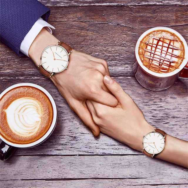 High Quality Leather Waterproof Wristwatch Rose Gold Dial  Men ,Women,unisex