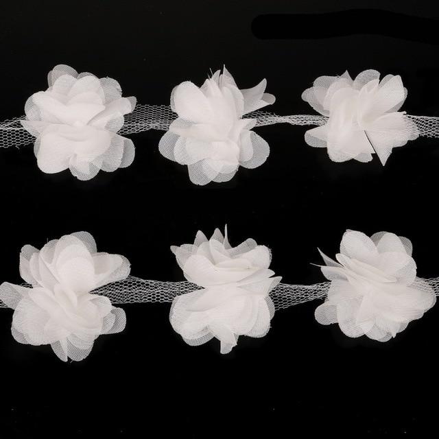 2 yard 3d white chiffon fabric flowers cluster fringe lace ribbon 2 yard 3d white chiffon fabric flowers cluster fringe lace ribbon trim organza cloth applique dress mightylinksfo