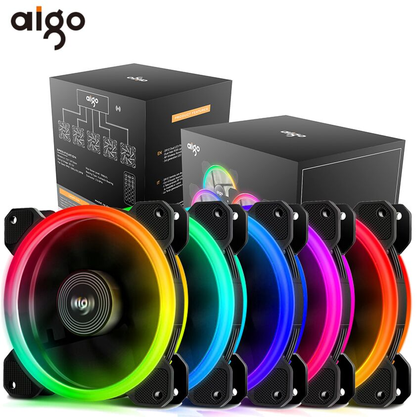 Aigo DR12 Pc Case Fan Adjust RGB Cooling Fan 120mm Quiet IR Remote Computer Cooler Cooling RGB Case Fan CPU Ventilador PC 12V computer case cooler 2pin 12v 4cm 40mm pc cpu cooling cooler fan black heat sink small cooling fan pc for arduino raspberry pi
