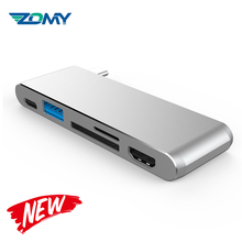 Zomy grey USB-C 3.1 to 2USB 3.0+SD/TF+PD 3.0 hdd docking station 10Gbps ssd USB-C 3.1 to USB 3.0+SD/TF+HDMI+PD 3.0 hdd enclosure