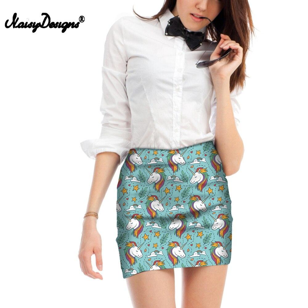 NOISYDESIGNS Linda caricatura unicornio impreso Mini falda linda mujer joven verano Oficina lápiz falda elástico corto Bodycon faldas